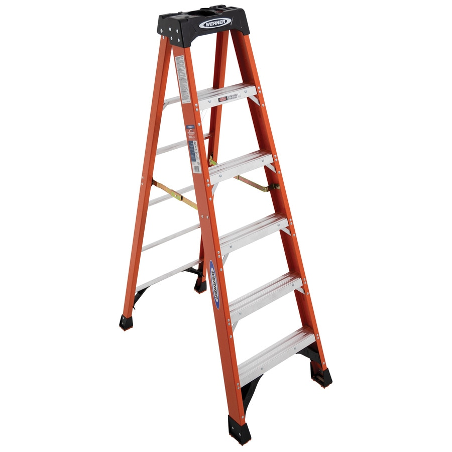 Shop werner 6 ft fiberglass 300 lb type ia step ladder at lowes com