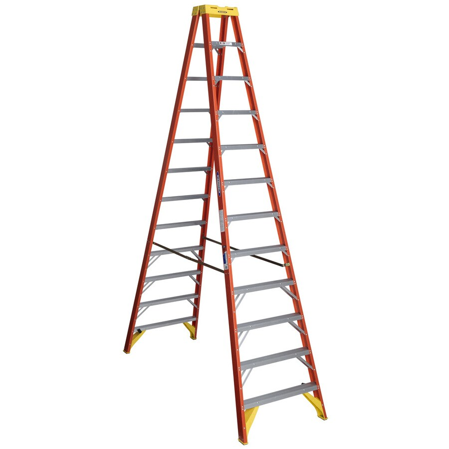 Werner 12-ft Fiberglass 300-lb Type IA Twin-Step Ladder
