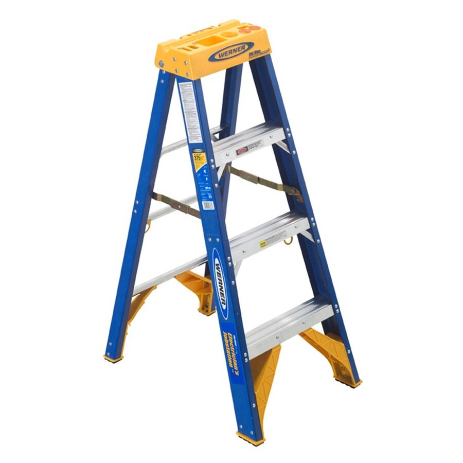 Shop Werner 4 Ft Fiberglass 375 Lb Type Iaa Step Ladder At