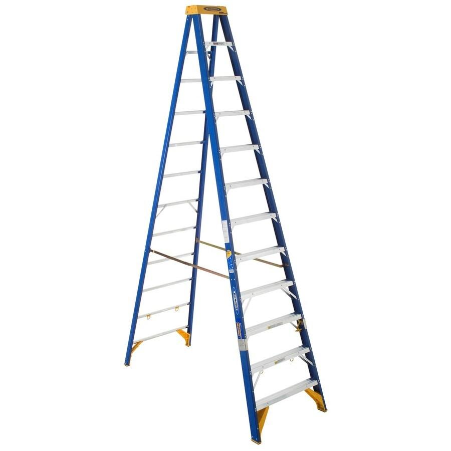 Werner 12-ft Fiberglass 375-lb Type IAA Step Ladder