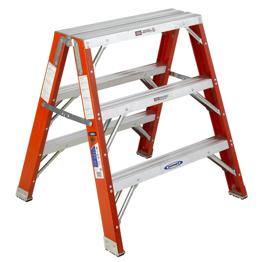 Shop Werner 3 Ft Fiberglass 300 Lb Type Ia Step Ladder At
