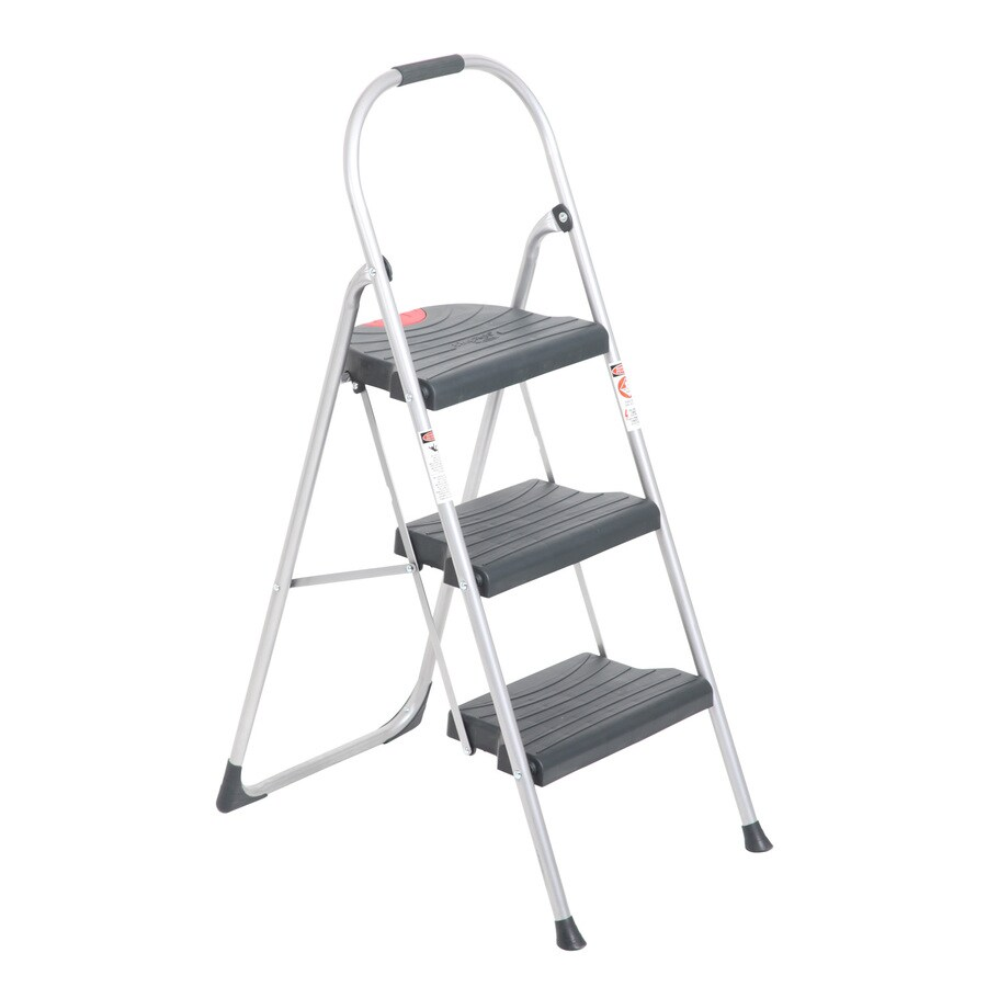 Werner 3-Step Gray Steel Step Stool
