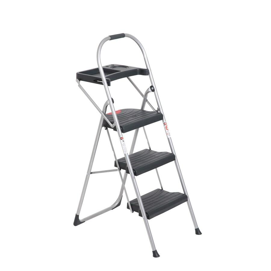 Werner 3-Step Gray Steel Step Stool
