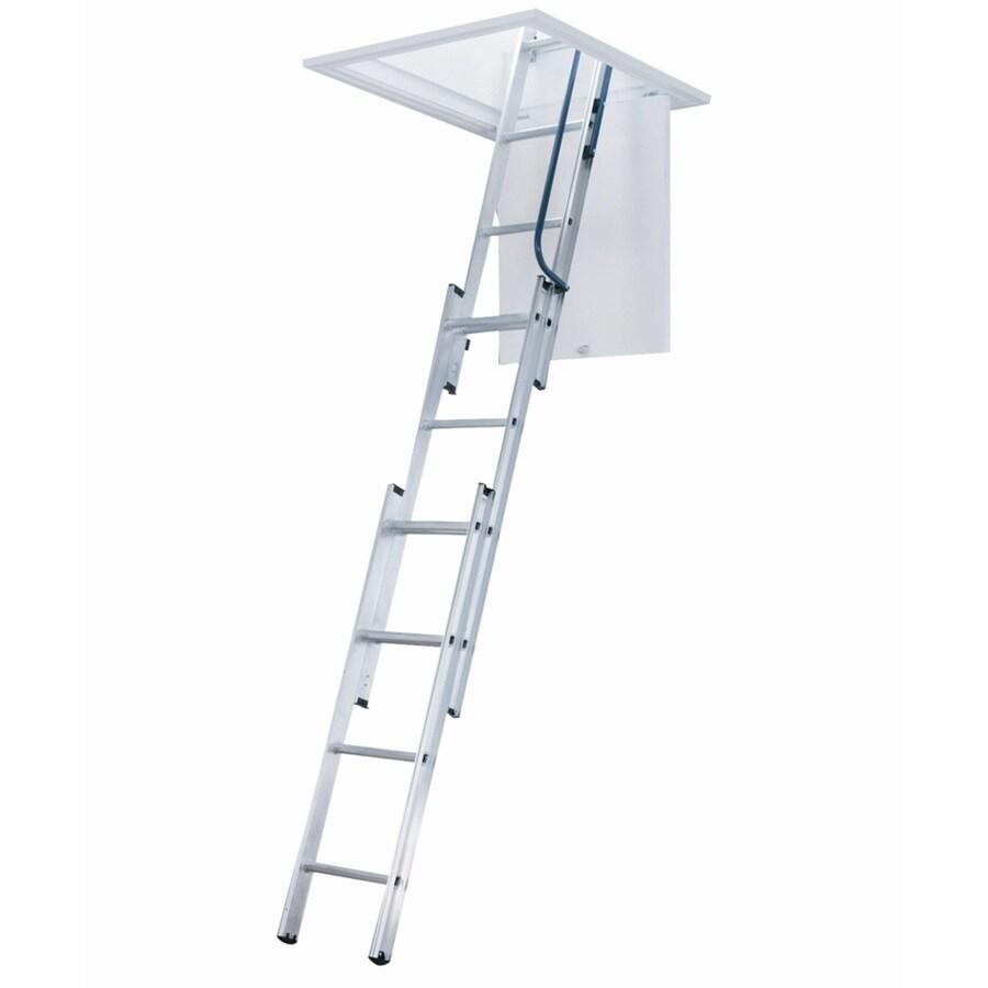 Shop Werner 7 Ft To 9 83 Ft Aluminum Attic Ladder At Lowes Com