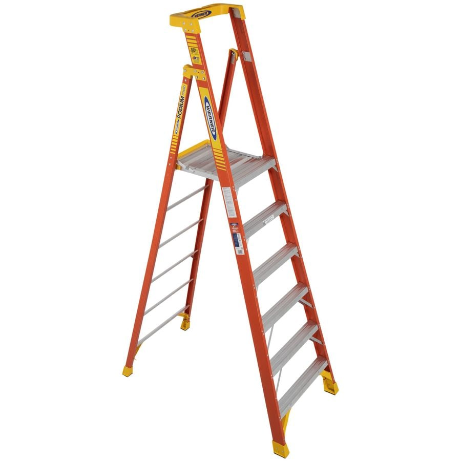 Shop Werner 6-ft Fiberglass 300 -lb Type IA Platform Ladder at Lowes ...