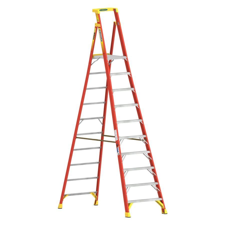 Werner 10-ft Fiberglass 300 -lb Type IA Platform Ladder