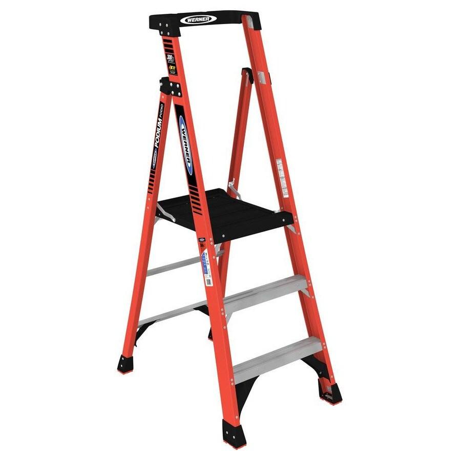 Werner 3-ft Fiberglass 300-lb Type IA Platform Ladder