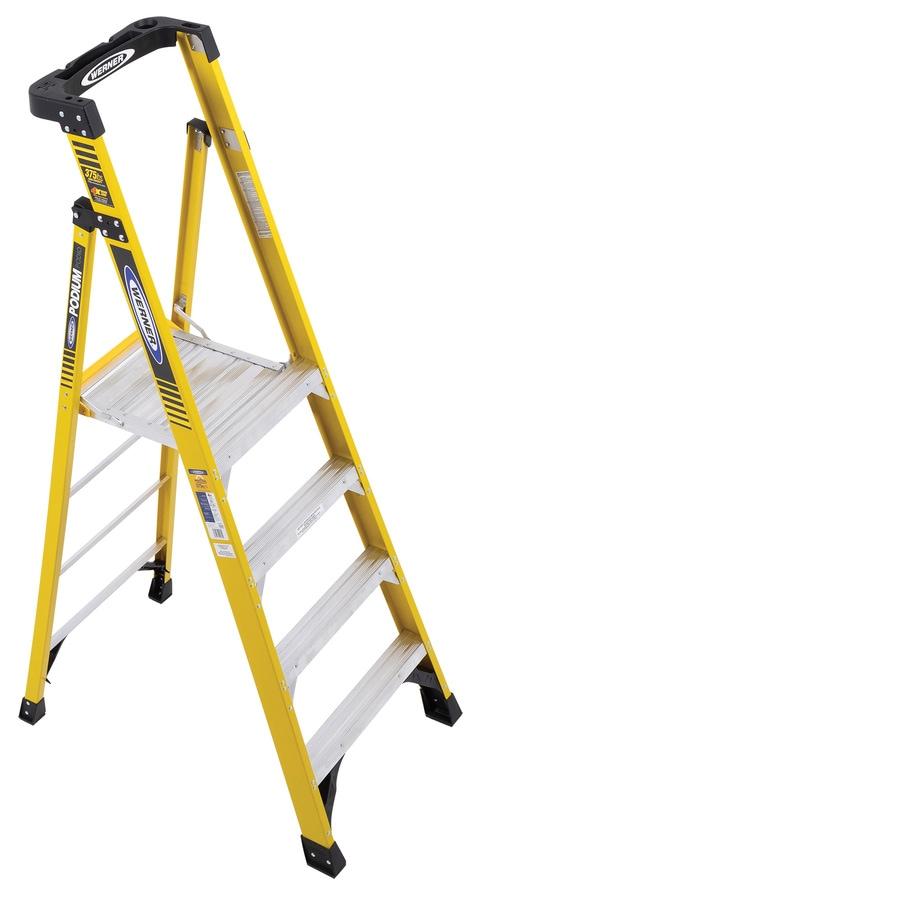 Shop Werner 4 Ft Fiberglass 375 Lb Type Iaa Step Ladder At