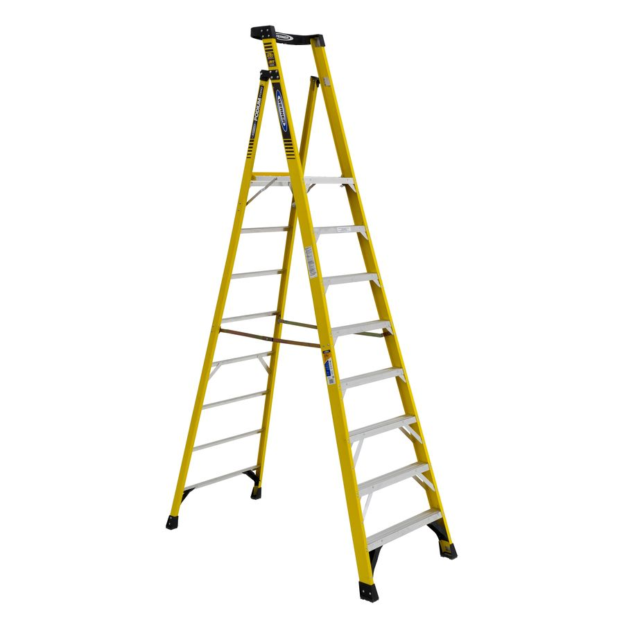 Shop Werner 8 Ft Fiberglass 375 Lb Type Iaa Step Ladder At