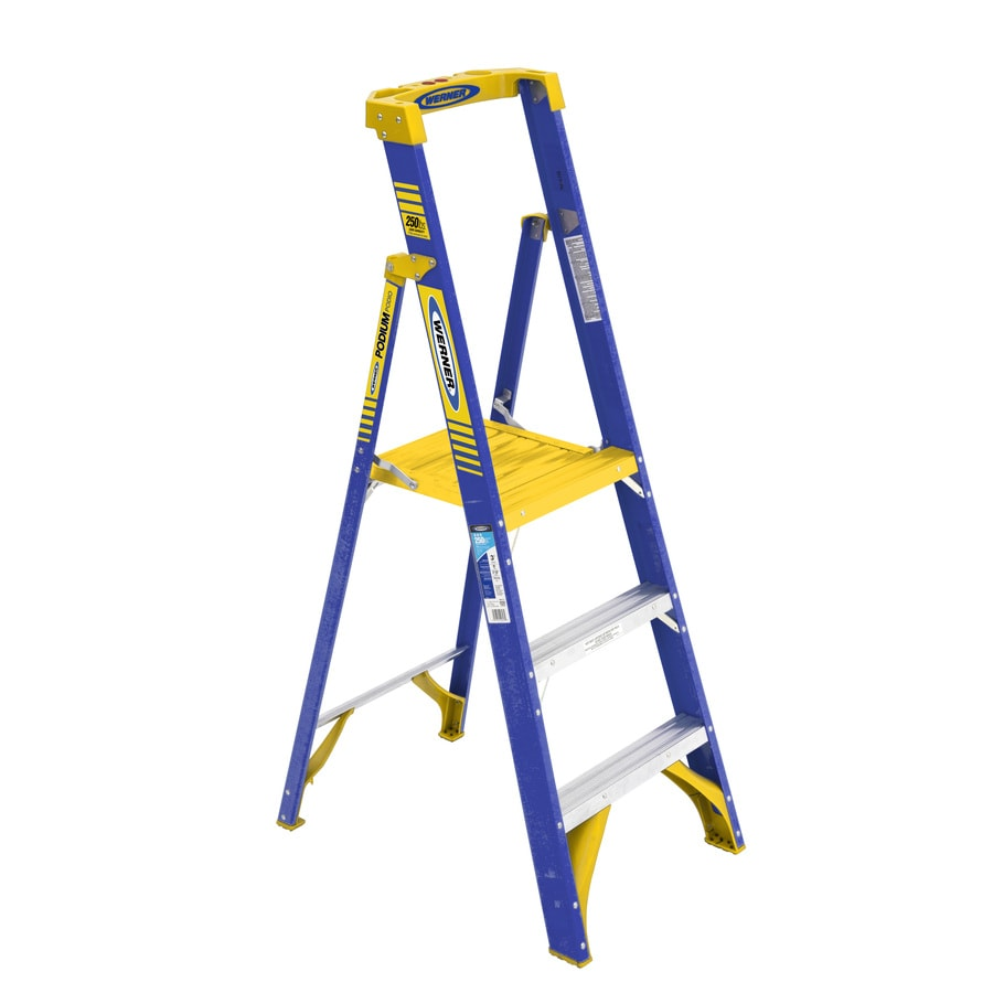 Shop Werner 3 Ft Fiberglass 250 Lb Type I Platform Ladder