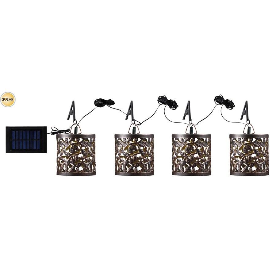 Kenroy Home 4-Pack Metal Solar Clip-On Umbrella Lantern LED Lights