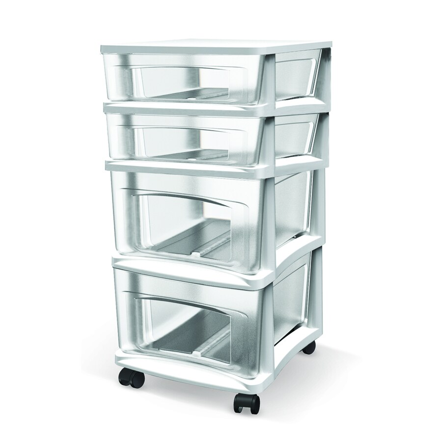 BELLA Contemporary Storage 14.5-in x 26-in 4 White Clear Plastic Cart