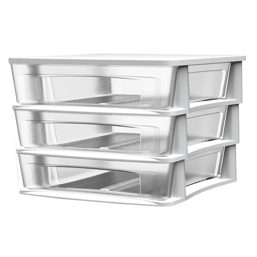 BELLA Contemporary Storage 14.5-in x 12.75-in 3 White Clear Plastic Desktop Drawer