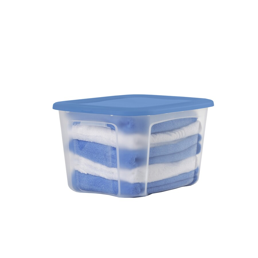 BELLA Contemporary Storage Bella 10-Gallon Clear Tote with Standard Snap Lid