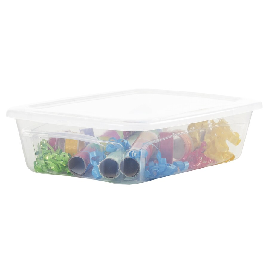 BELLA Contemporary Storage 28-Quart Clear Underbed Tote with Standard Snap Lid