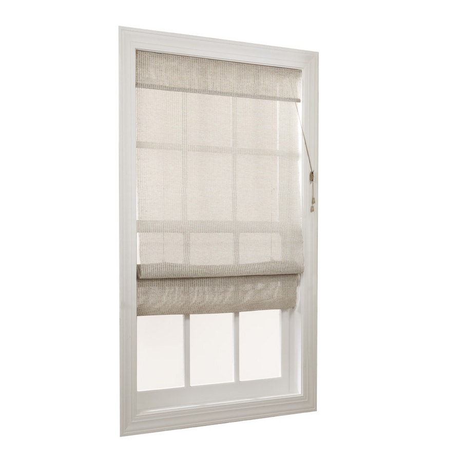 allen + roth Driftwood Light Filtering Fabric Roman Shade (Common 27-in; Actual: 26.5-in x 72-in)