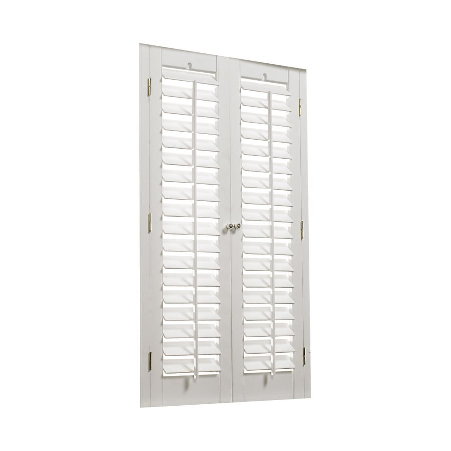 Shop Allen Roth 35 In To 37 In W X 24 In L Plantation White Faux Wood Interior Shutter At