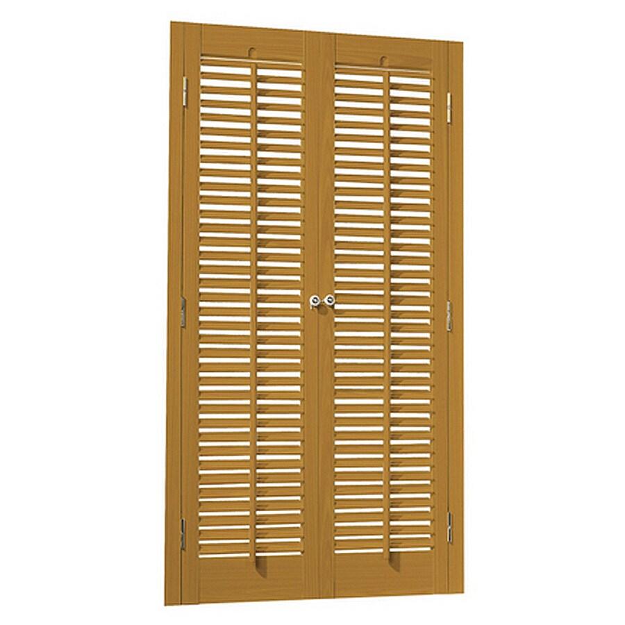 allen + roth 23-in to 25-in W x 32-in L Colonial Golden Oak Faux Wood Interior Shutter