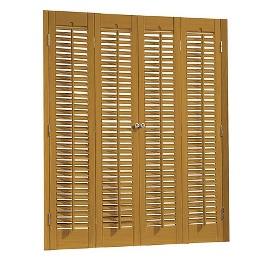allen + roth 35-in to 37-in W x 32-in L Colonial Golden Oak Faux Wood Interior Shutter