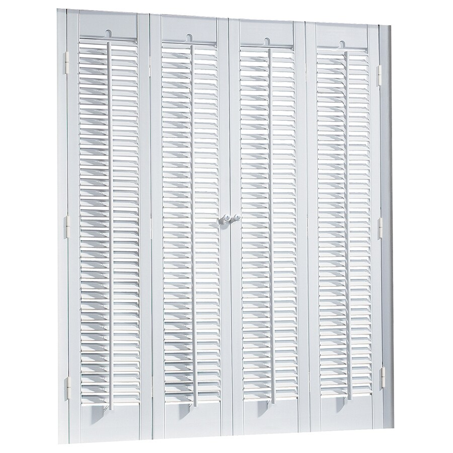 shop allen roth 39 in to 41 in w x 36 in l colonial white faux wood interior shutter at