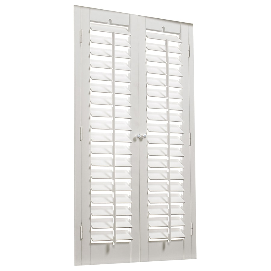 allen + roth 31-in to 33-in W x 24-in L Plantation White Faux Wood Interior Shutter