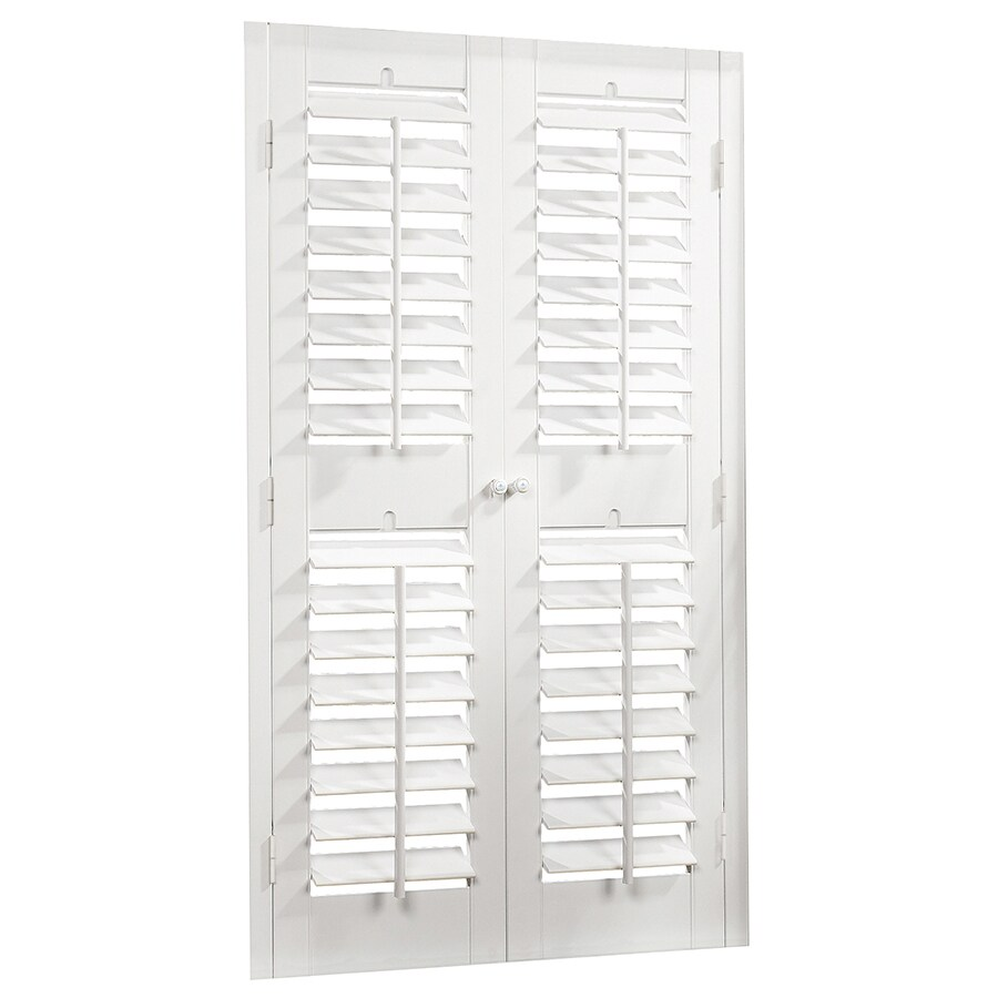 allen + roth 23-in to 25-in W x 74-in L Plantation White Faux Wood Interior Shutter