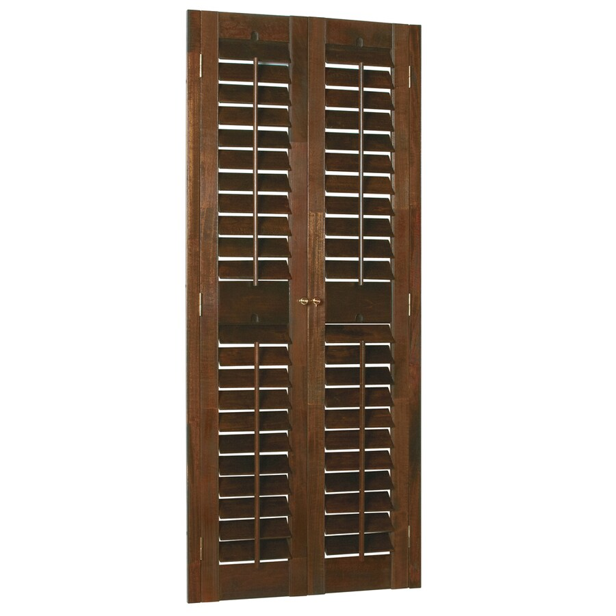 Style Selections 31-in to 33-in W x 60-in L Plantation Mahogany Wood Interior Shutter