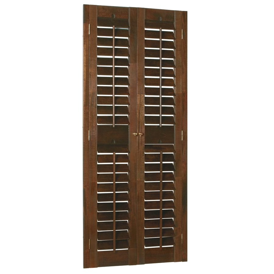 Style Selections 31-in to 33-in W x 48-in L Plantation Mahogany Wood Interior Shutter
