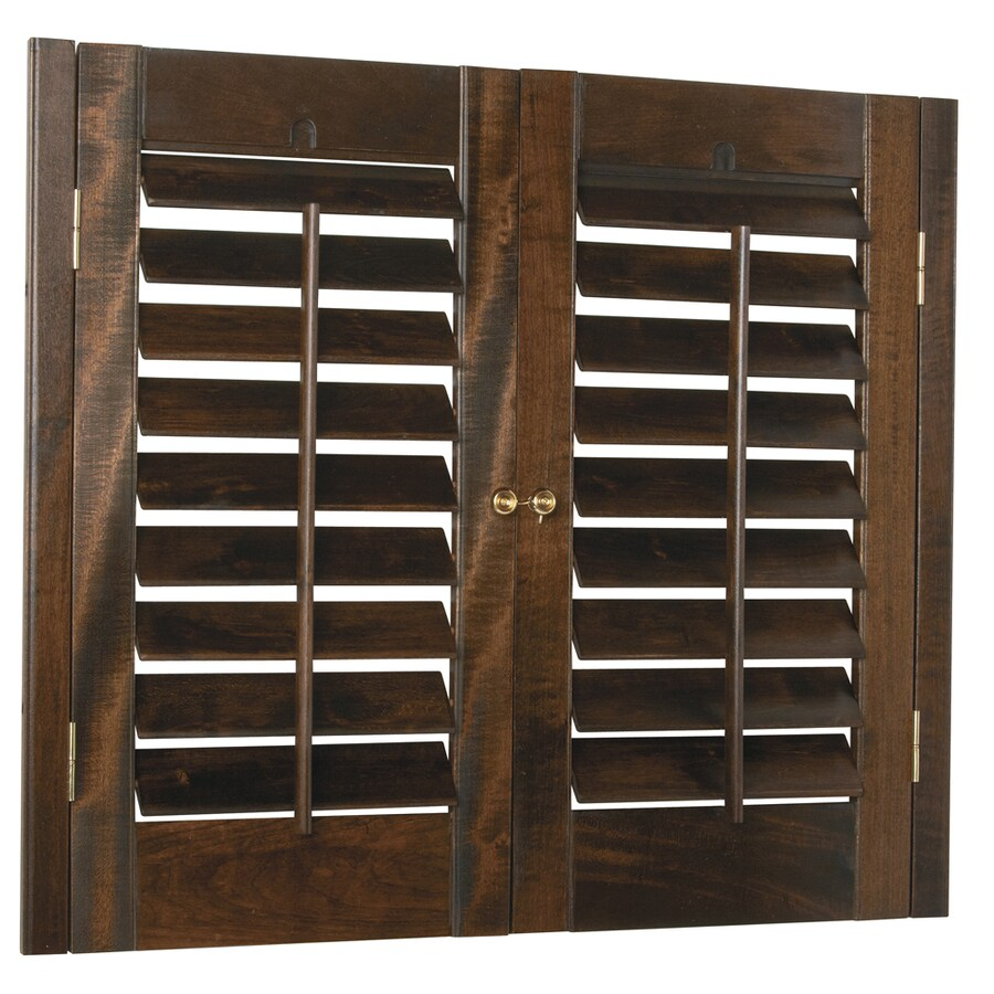 Style Selections 35-in to 37-in W x 24-in L Plantation Mahogany Wood Interior Shutter