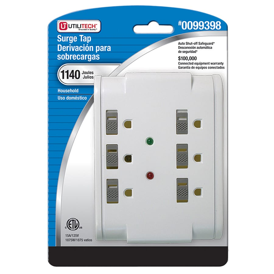 Utilitech 6-Outlet 1140 Joules General Use Surge Protector (Auto-Off Safety)