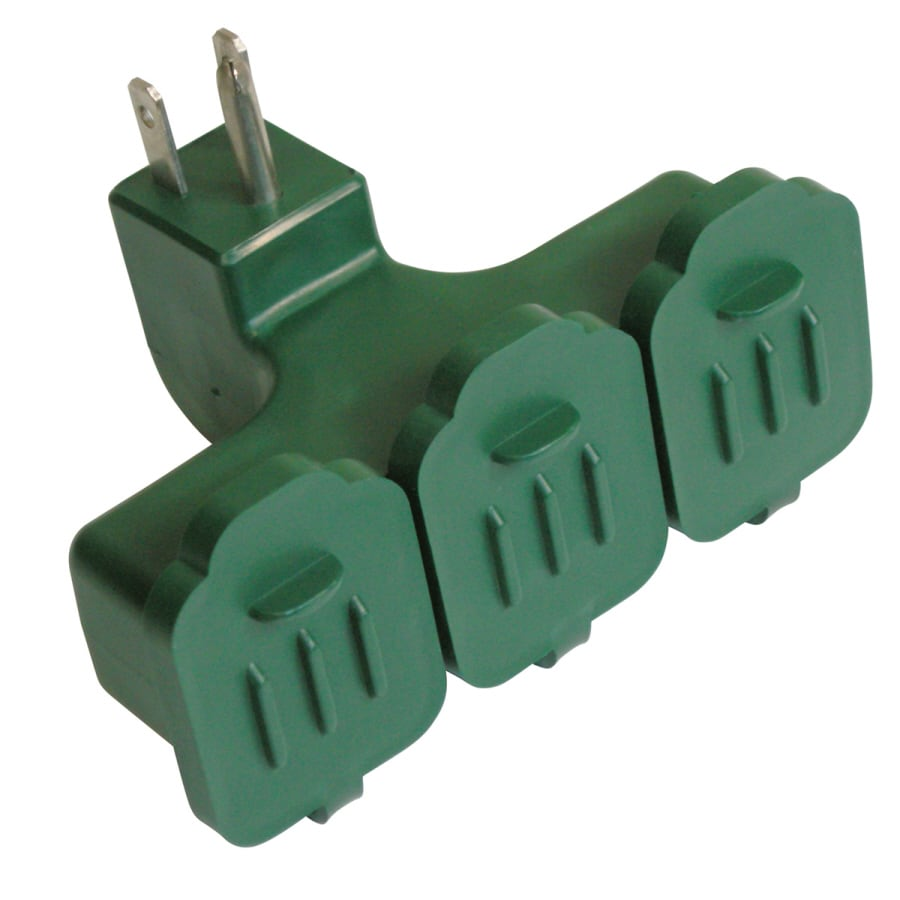 Utilitech 15-Amp 3-Wire Grounding Single to Triple Green Basic Adapter