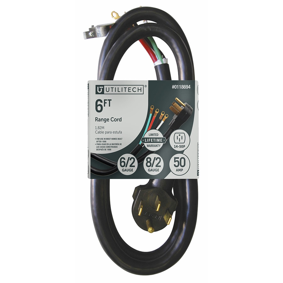 Utilitech 6-ft 50-Amp 6-Gauge Black Indoor Extension Cord