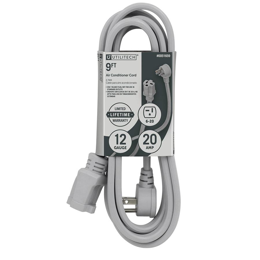 Utilitech 9-ft 20-Amp 240-Volt 12-Gauge Gray Indoor Extension Cord