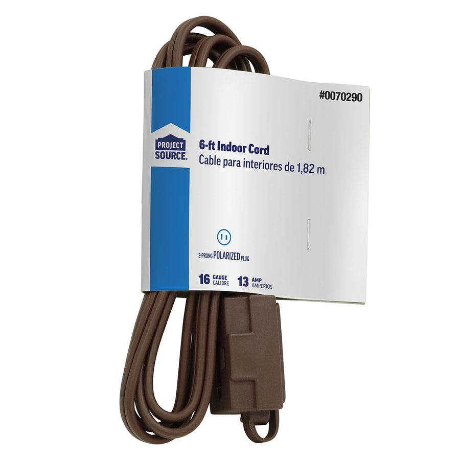 Project Source 6-ft 13-Amp 3-Outlet 16-Gauge Brown Indoor Extension Cord