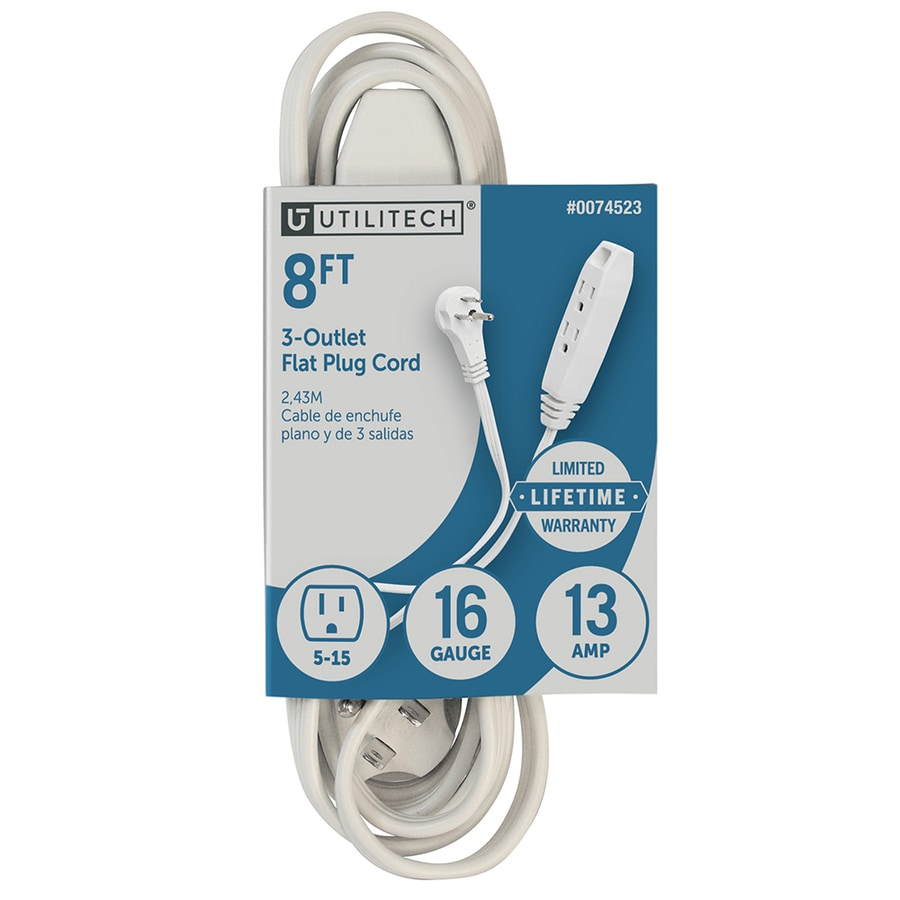 Utilitech 8-ft 13-Amp 3-Outlet 16-Gauge White Indoor Extension Cord
