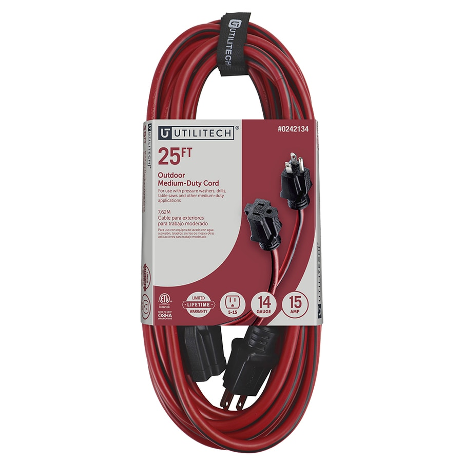 Utilitech 25-ft 15-Amp 14-Gauge Red/Black Outdoor Extension Cord