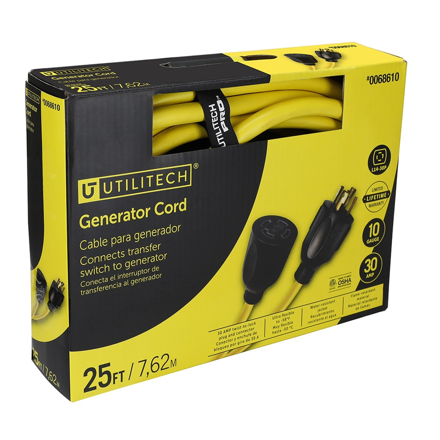 Utilitech 25-ft 30-Amp 110-Volt 10-Gauge Yellow Outdoor Extension Cord