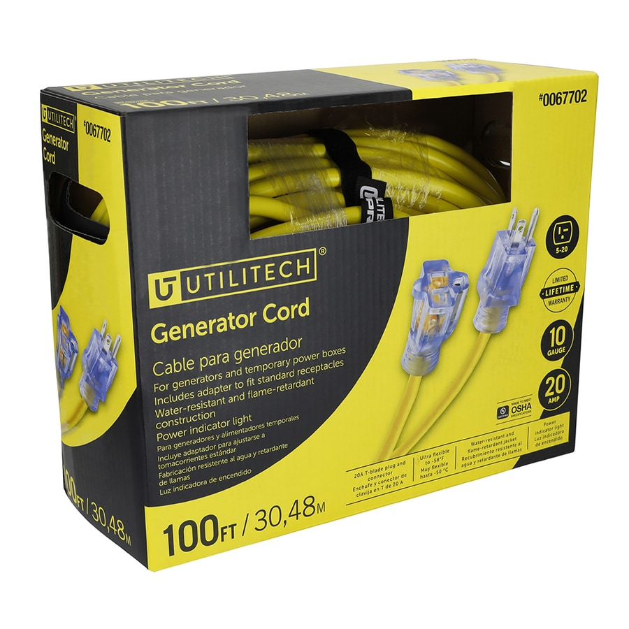 Utilitech 100-ft 20-Amp 110-Volt 10-Gauge Yellow Outdoor Extension Cord