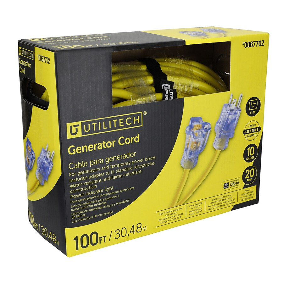 Shop Utilitech 100 Ft 20 Amp 110 Volt 10 Gauge Yellow