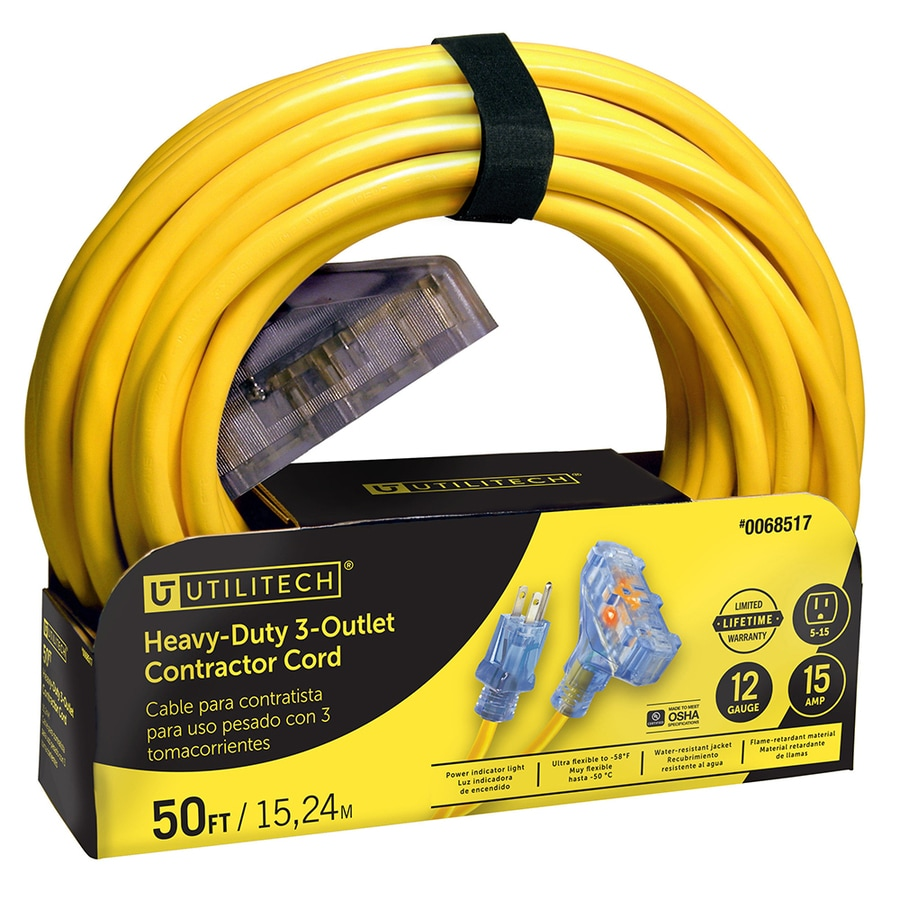 Utilitech 50-ft 15-Amp 3-Outlet 12-Gauge Yellow Outdoor Extension Cord