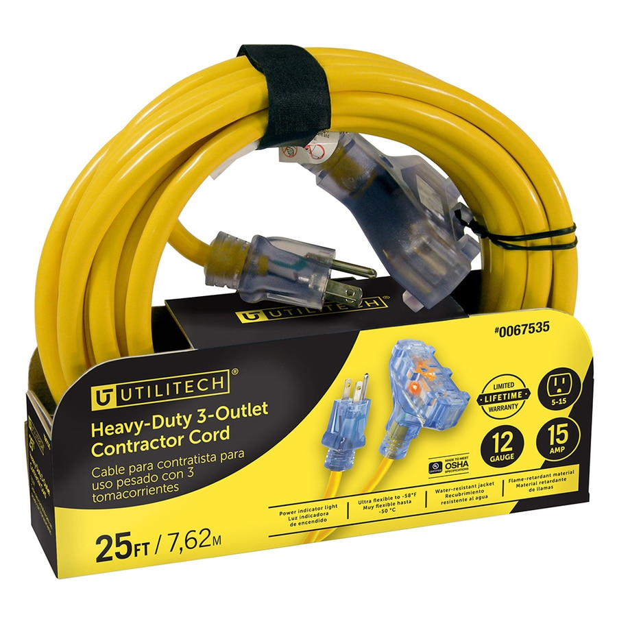 Utilitech 25-ft 15-Amp 3-Outlet 12-Gauge Yellow Outdoor Extension Cord