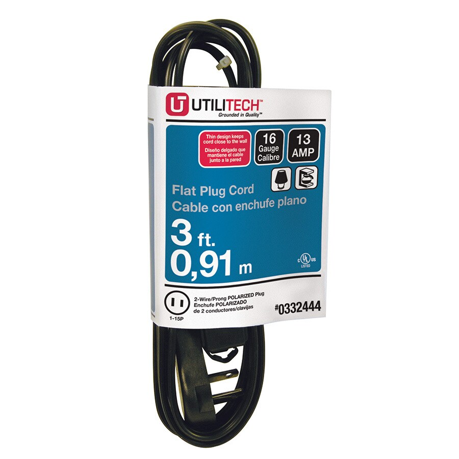 Utilitech 3-ft 13-Amp 3-Outlet 16-Gauge Black Indoor Extension Cord