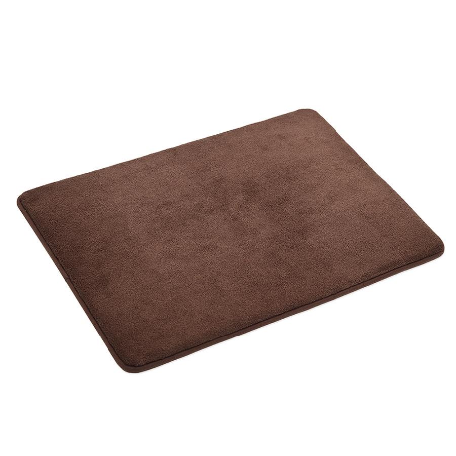 allen + roth 17-in x 24-in Dark Chocolate Microfiber Memory Foam Bath Mat