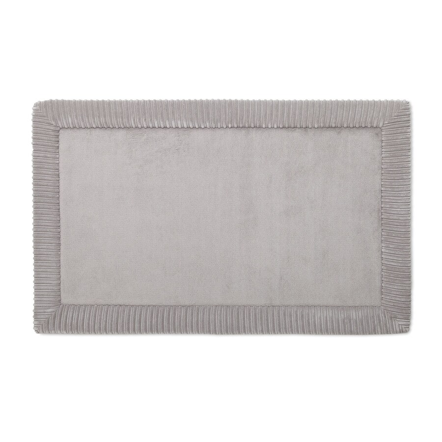 allen + roth Romanesque Border 34-in x 21-in Grey Polyester Memory Foam Bath Mat