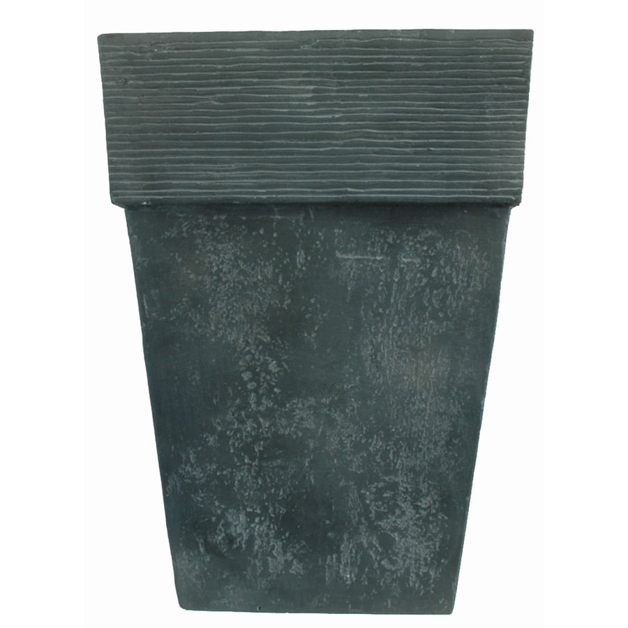 22-3/8-in H x 16-in W x 16-in D Oxidized Black Resin Indoor/Outdoor Planter