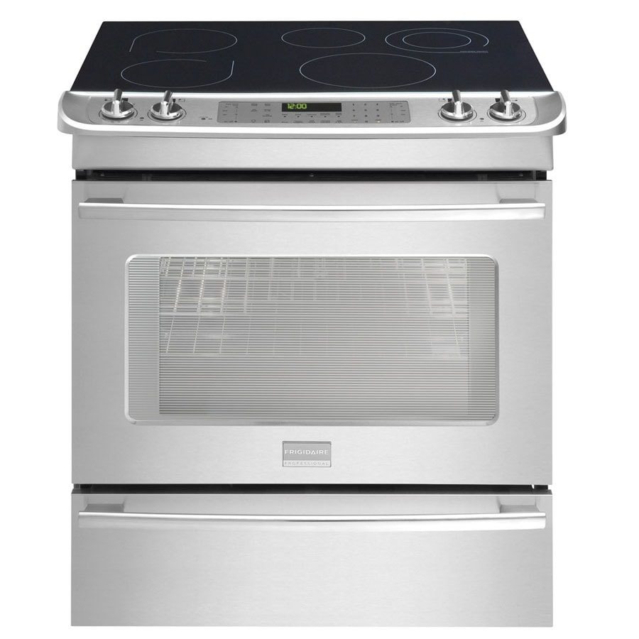 Frigidaire Professional 30-in Smooth Surface 5-Element 4.2 cu ft Self-Cleaning Slide-In Convection Electric Range (Stainless Steel)