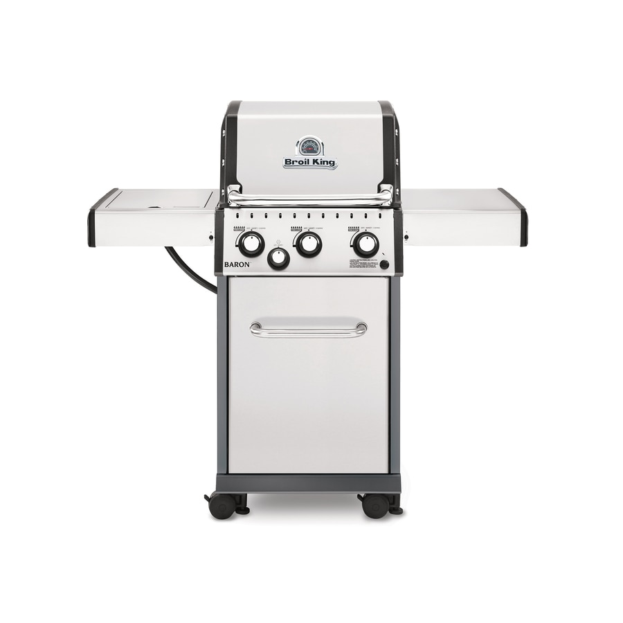 Broil King Baron Stainless Steel and Black Chrome 3-Burner (30,000-BTU) Natural Gas Grill with Side Burner
