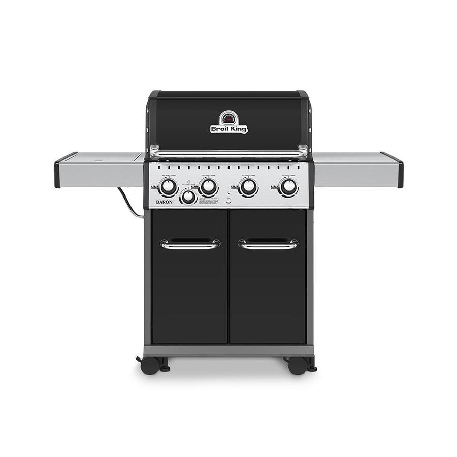 Broil King Baron Black, Stainless Steel, and Black Chrome 4-Burner (40,000-BTU) Liquid Propane Gas Grill with Side Burner