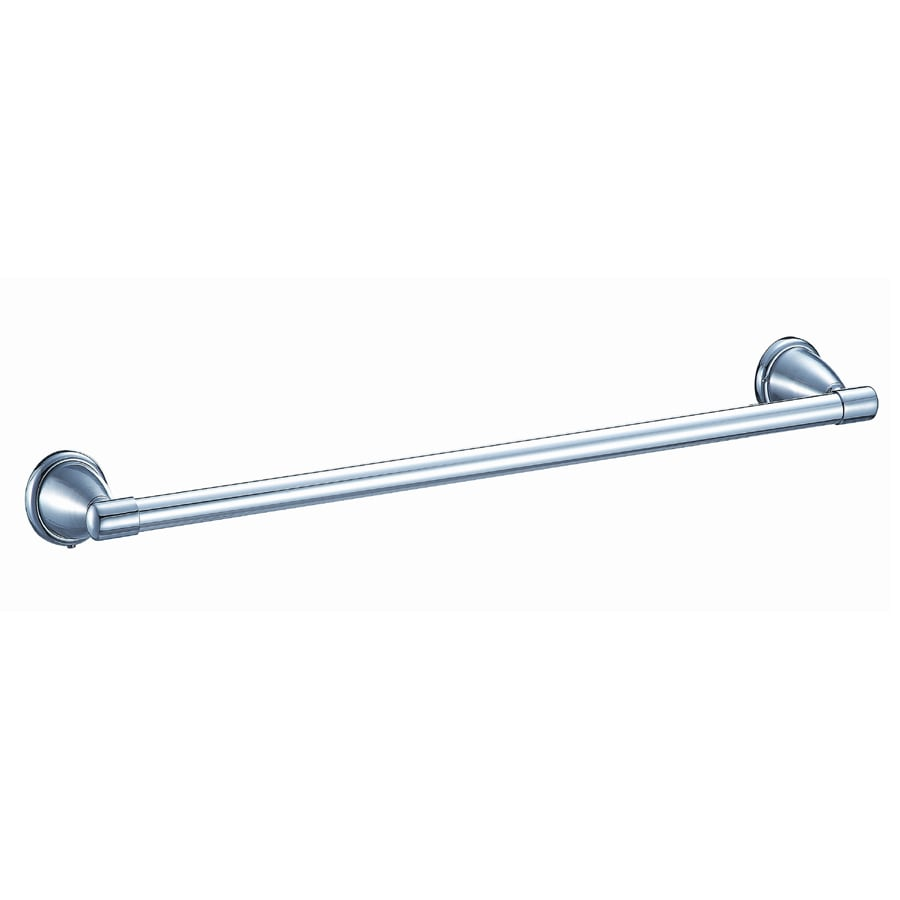 Style Selections Athens Brushed Chrome and Chrome Single Towel Bar (Common: 24-in; Actual: 27.48-in)