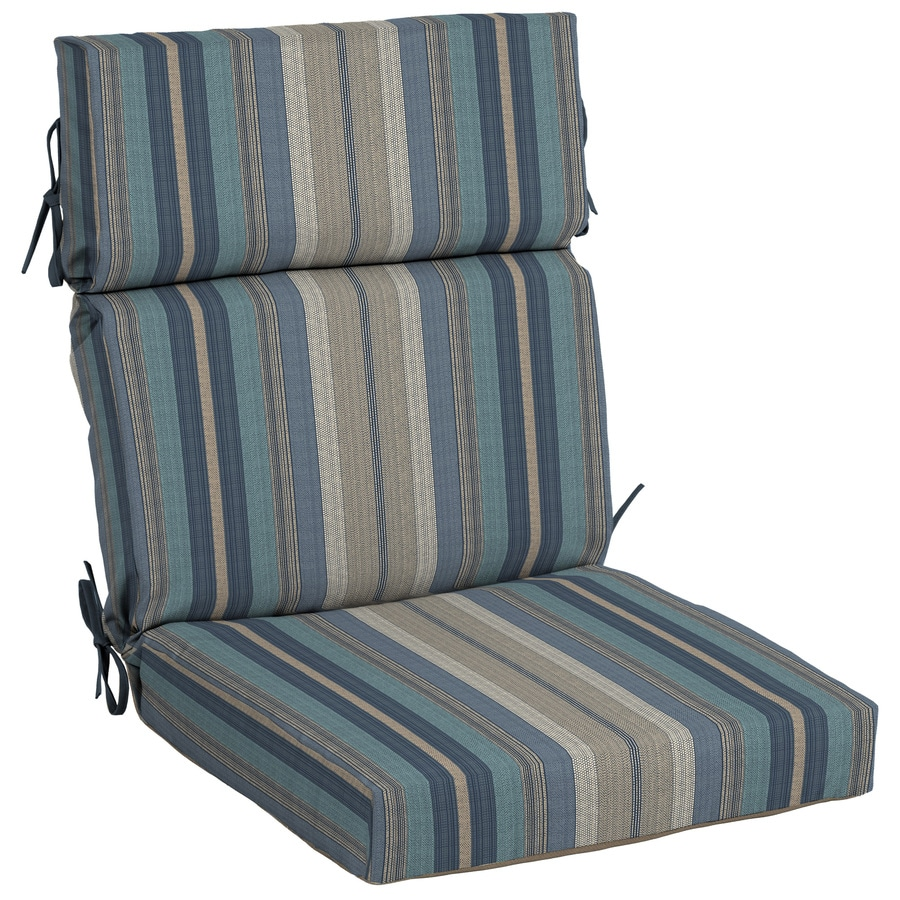 Allen Roth Stripe High Back Patio Chair Cushion For
